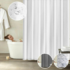 Thick Plain Shower Curtain W Hook Rings Hotel Quality Bathroom Waterproof Fabric