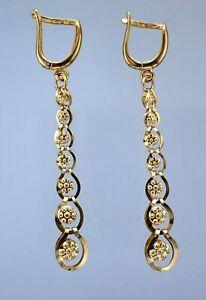 Ladies 14ct Yellow Gold 7-Tier Graduated Rosette Pattern Hinged Drop Earrings