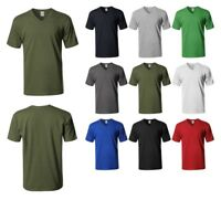 FashionOutfit Men's Basic Short Sleeve V-neck Cotton T-shirt S-5XL MADE IN USA