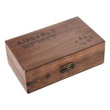 Pack of 70pcs Rubber Stamps Set Vintage Wooden Box Case Alphabet Letters X7D7