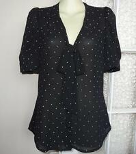 BNWT - DOTTI -- Pussycat Bow Detail Shirt Top Blouse - Black - Size 8 - RRP $50