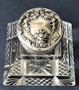 Antique ORNATE FLORAL Sterling Silver and Cut Crystal Glass DESK WRITING Inkwell