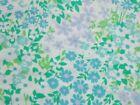 Vtg Stevens Utica BRIGHTON Flower Power Twin Flat Sheet Turquoise Lilac Aqua 50/