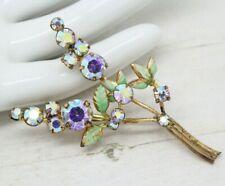 Beautiful Vintage Czech Enamel & Crystal FLOWER Spray BROOCH Pin Jewellery