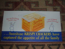 LOOSE WILES BISCUIT CO. SUNSHINE KRISPY CRACKERS CARDBOARD TROLLEY SIGN
