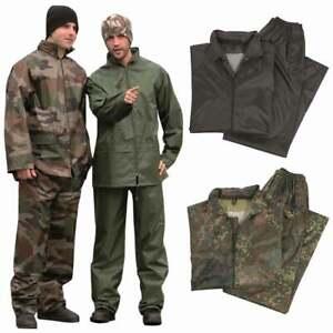 Mil-Tec Waterproof Rain Suit Packaway Set Jacket Trousers Fishing Army Military
