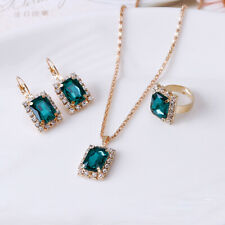 Band Ring Earrings Gifts Set Princess Peridot Gems Necklace Pendant Open
