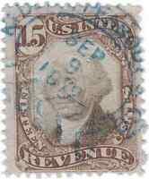 Scott # R139- Revenue stamp - 15c Brown & Black - Used