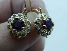 STUNNING AMERTHYST AND DIAMOND 14K GOLD PLATE 925 SILVER HOOK  EARRINGS