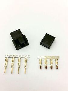 MALE & FEMALE 4 PIN PC FAN LED POWER CONNECTORS - 10 OF EACH- BLACK INC PINS