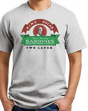 King Oscar T-shirt. Sardines 100% Cotton. Small -3-XL. White,Gray,Khaki,Yellow
