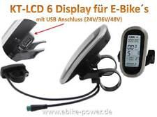 KT LCD 6 Display mit USB Anschluß KT-LCD6U 24V 36V 48V ebike-Power Tacho Pedelec