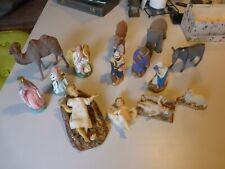 CRÈCHE ANCIENNE avec 3 JÉSUS EN CIRE + ane chameau éléphant santon terre plâtre