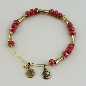 Alex and Ani Glade Amaranth Gold Bangle With Red Glass Beads