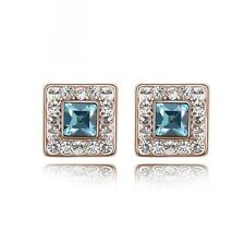 GORGEOUS 18K GOLD PLATED TURQUOISE AND CLEAR GENUINE CUBIC ZIRCONIA EARRINGS