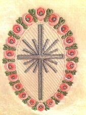 Set of 2 Embroidered White Tea Towels Rosebud Egg Shape w/Cross  Made in USA