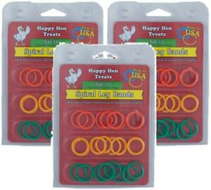 (3 Pack) Happy Hen Treats Spiral Leg Bands, Size 11, 24 Per Pack