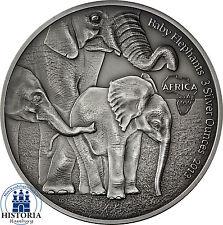 Afrika Serie: Gabun 2000 Francs 2013 African Baby Elephants 3 Silver Ounce