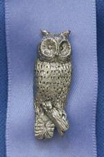 PEWTER OWL PIN BROOCH