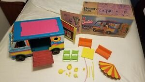 VINTAGE 1971 BARBIE BEACH BUS WITH BOX NEAR COMPLETE!