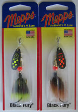 2 - Mepps  Black Fury Spinner - 1/6 oz.- Two Popular Colors with Dressed Tails!