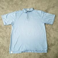 Peter Millar Golf Polo Shirt Mens XL Short Sleeve Cotton Blue White Check Casual