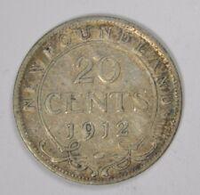1912 NEWFOUNDLAND CANADA 20 CENTS - SILVER! CLASSIC! INV#B121