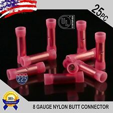 25 Pack 8 Gauge Wire Butt Connectors Red Nylon 8 AWG Crimp Cable Terminals USA