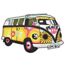 Hippie Love Peace Bus Coloured Sew Iron on Patch Badge Embroidery DIY Appliques