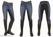 Reithose Jeansblau/dunkelblau  -Summer - mit 3/4 Besatz Viele Grö�Ÿen 7T NEU