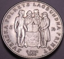 Silver Sweden 1959-TS 5 Kronor~150th Anniversary Of The Constitution~Free Ship