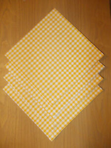 """Napkins Set of 4 Yellow Gingham Fabric 19"""" x 19"""" Square (65% Poly 35% Cotton)"""