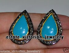 Artdeco Estate 21.52Cts Rose Cut Diamond Turquoise Jewelry Silver Studs Earring