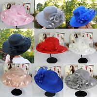 Women's Fascinator Hat Organza Kentucky Derby Church Floral Bridal Wedding Hats