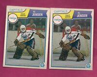 2 X 1983-84 OPC # 373 CAPITALS AL JENSEN GOALIE  ROOKIE CARD (INV# A1822 )
