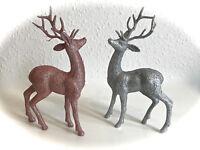 Stag Deer Ornament Glitter Rose Gold Decoration Reindeer Silver Christmas NEW