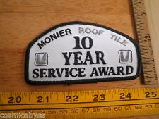 Monier Roof Tile 10 Year Service Award patch 1980s