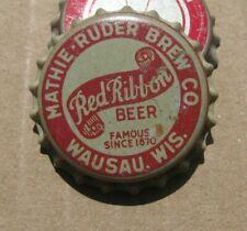 MATHIE RUDER BREW CO WAUSAU WIS WI WISCONSIN CORK ERA RED RIBBON BEER CAP