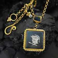 Handmade Roman Soldier Intaglio Necklace And Diamond 925K Sterling Silver