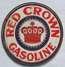 Red Crown Gasoline USA Tankstellen Logo Metall Werbung Schild