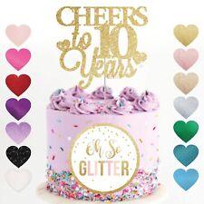 10th aniversario de bodas Cake Topper Años Brillo Dorado Personalizados 5 10 15 20 25