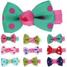 10pcs Candy Color Mini Hair Clips Baby Girl Ribbon Bowknot Dots Hair Bow Cute