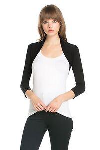 Fashion Secrets Women Rayon 3/4 sleeve Bolero Shrug Cardigan Sweater Jacket