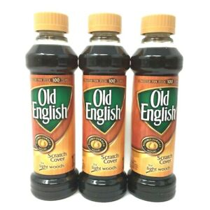 (3) Old English Scratch Cover Light Wood Polish ~ New 8 oz per Bottle