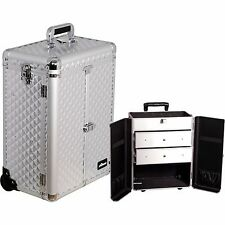 Professional Aluminum Rolling Makeup Cosmetic Case Wheeled 2 Drawers Trolley NIB