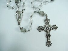 Antique Sterling Rosary with Aurora Borealis Crystal Beads -- Blessed