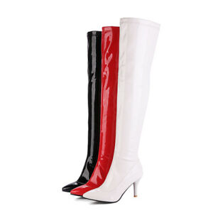 Women High Heel Over Knee Boots Black/White/Red Patent Leather Pointed Toe Shoes