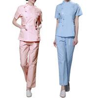 Women Scrubs Set Short Sleeves Medical Hospital Clinic Uniform for Nurses Doctor