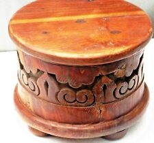 Carved wooden base Round ground sitting Display stand multi use table Reclaimed