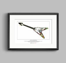 Jimi Hendrix's Gibson Flying V guitar Limited Edition Fine Art Print A3 size